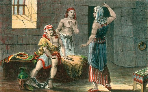 Joseph interpreting the dreams of the Chief Butler and Baker in prison. Illustration for Aunt Louisa's Sunday Picture Book, printed in Colours by Kronheim (Frederick Warne, c 1890).
