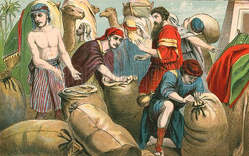 Joseph's brethren finding the money in their sacks. Illustration for Aunt Louisa's Sunday Picture Book, printed in Colours by Kronheim (Frederick Warne, c 1890).