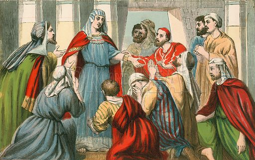 Joseph making himself known to his brothers. Illustration for Aunt Louisa's Sunday Picture Book, printed in Colours by Kronheim (Frederick Warne, c 1890).