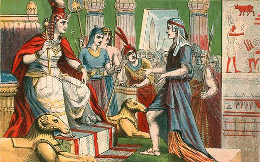 Joseph interpreting Pharoah's dreams. Illustration for Aunt Louisa's Sunday Picture Book, printed in Colours by Kronheim (Frederick Warne, c 1890).
