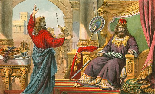 King David being rebuked by Nathan. Illustration for Aunt Louisa's Sunday Picture Book, printed in Colours by Kronheim (Frederick Warne, c 1890).
