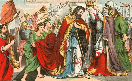 David being crowned king in Hebron. Illustration for Aunt Louisa's Sunday Picture Book, printed in Colours by Kronheim (Frederick Warne, c 1890).