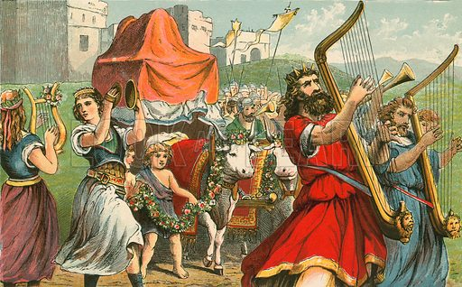 King David fetching the ark of the covenant. Illustration for Aunt Louisa's Sunday Picture Book, printed in Colours by Kronheim (Frederick Warne, c 1890).