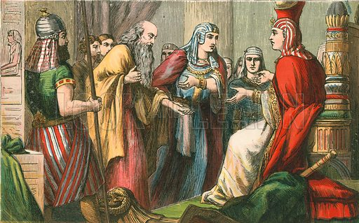 Joseph before Pharoah. Illustration for Aunt Louisa's Sunday Picture Book, printed in Colours by Kronheim (Frederick Warne, c 1890).