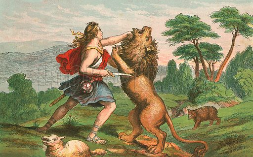 David killing a lion. Illustration for Aunt Louisa's Sunday Picture Book, printed in Colours by Kronheim (Frederick Warne, c 1890).