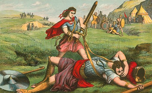 David kills Goliath. Illustration for Aunt Louisa's Sunday Picture Book, printed in Colours by Kronheim (Frederick Warne, c 1890).
