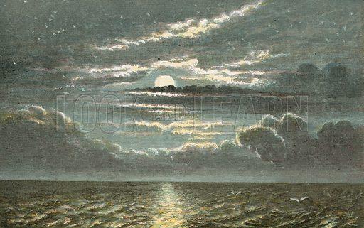 Sea at night with full moon. Illustration for Aunt Louisa's Sunday Picture Book, printed in Colours by Kronheim (Frederick Warne, c 1890).