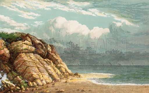 Beach and cliffs. Illustration for Aunt Louisa's Sunday Picture Book, printed in Colours by Kronheim (Frederick Warne, c 1890).