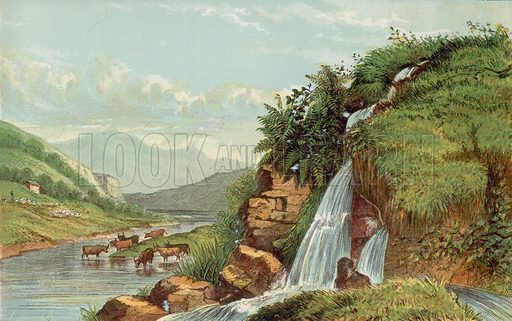 Waterfall and cattle. Illustration for Aunt Louisa's Sunday Picture Book, printed in Colours by Kronheim (Frederick Warne, c 1890).