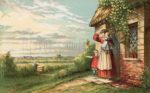 Father returning from work in the fields. Illustration for Aunt Louisa's Sunday Picture Book, printed in Colours by Kronheim (Frederick Warne, c 1890).