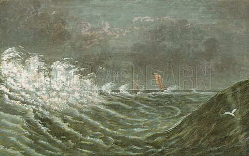 Storm at sea. Illustration for Aunt Louisa's Sunday Picture Book, printed in Colours by Kronheim (Frederick Warne, c 1890).