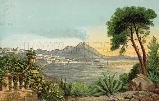 Mediterranean scene. Illustration for Aunt Louisa's Sunday Picture Book, printed in Colours by Kronheim (Frederick Warne, c 1890).