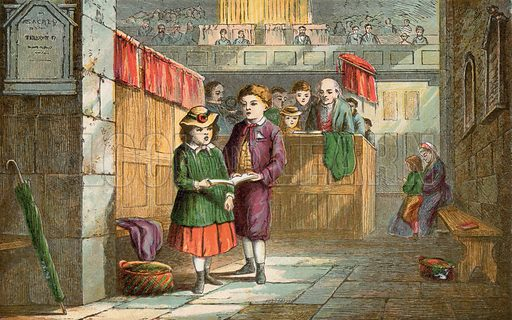 Brother and sister singing hymns at church. Illustration for Aunt Louisa's Sunday Picture Book, printed in Colours by Kronheim (Frederick Warne, c 1890).