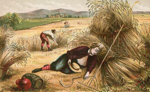 He that sleepeth in harvest. Illustration for Aunt Louisa's Sunday Picture Book, printed in Colours by Kronheim (Frederick Warne, c 1890).