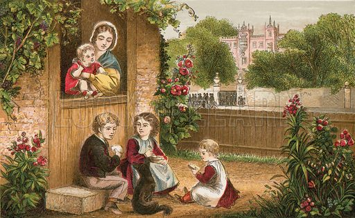 Better is little with fear of the Lord. Illustration for Aunt Louisa's Sunday Picture Book, printed in Colours by Kronheim (Frederick Warne, c 1890).