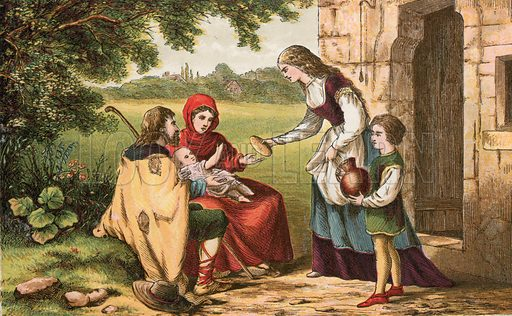 He that hath pity on the poor. Illustration for Aunt Louisa's Sunday Picture Book, printed in Colours by Kronheim (Frederick Warne, c 1890).