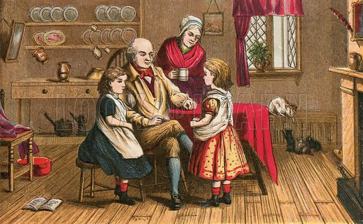 Hearken unto thy father. Illustration for Aunt Louisa's Sunday Picture Book, printed in Colours by Kronheim (Frederick Warne, c 1890).