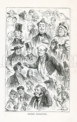 Dickens Characters. Illustration included in Works of Charles Dickens (Caxton Publishing, c 1900).