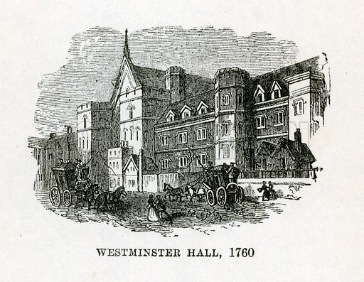 Westminster Hall, 1760. Illustration for Barnaby Rudge by Charles Dickens (Caxton Publishing, c 1900).