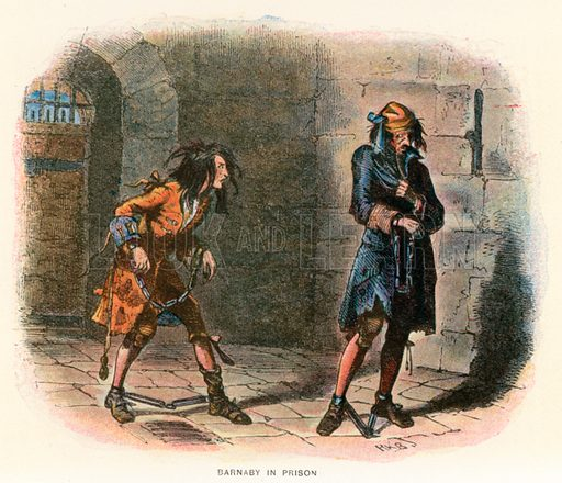 Barnaby in Prison. Illustration for Barnaby Rudge by Charles Dickens (Caxton Publishing, c 1900).