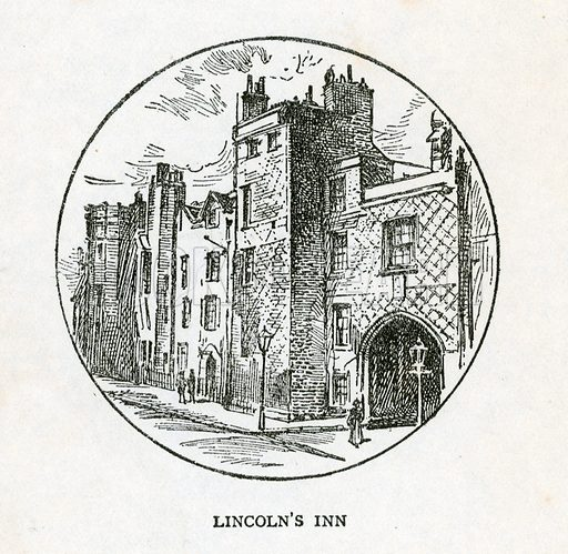 Lincoln's Inn. Illustration for Bleak House by Charles Dickens (Caxton Publishing, c 1900).