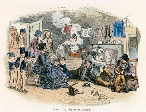 A Visit to the Brickmaker's. Illustration for Bleak House by Charles Dickens (Caxton Publishing, c 1900).