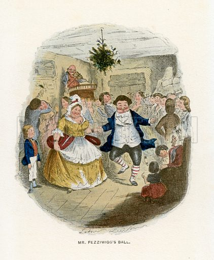 Mr Fezziwigg's Ball. Illustration for A Christmas Carol by Charles Dickens (Caxton Publishing, c 1900).