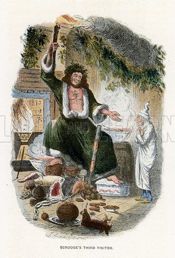 Scrooge's Third Visitor. Illustration for A Christmas Carol by Charles Dickens (Caxton Publishing, c 1900).