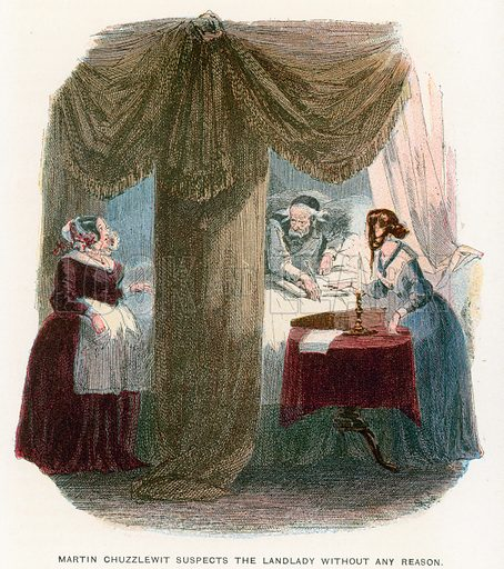 Illustration for Martin Chuzzlewit by Charles Dickens (Caxton Publishing, c 1900).