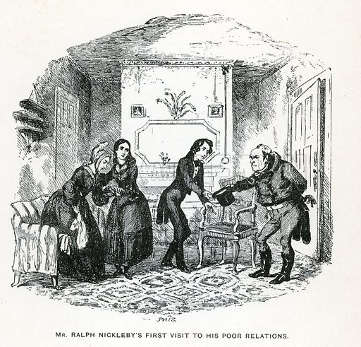 Illustration for Nicholas Nickleby by Charles Dickens (Caxton Publishing, c 1900).