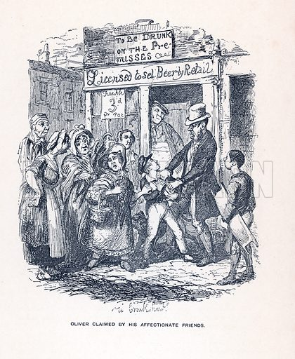 Illustration for Oliver Twist by Charles Dickens (Caxton Publishing, c 1900).