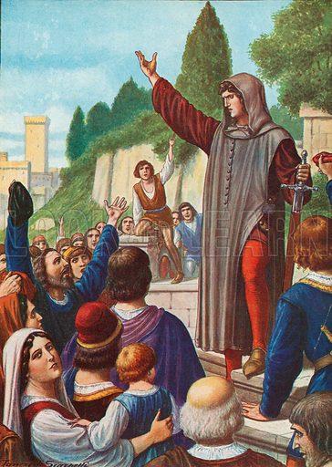 Cola di Rienzo at Rome.  Illustration for Storia d