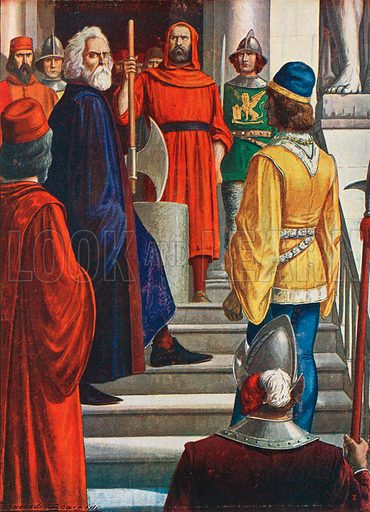 Doge Marin Faliero who attempted a coup in 1355 and was beheaded. Illustration for Storia d'Italia by Paolo Giudici (Nerbini, 1931).