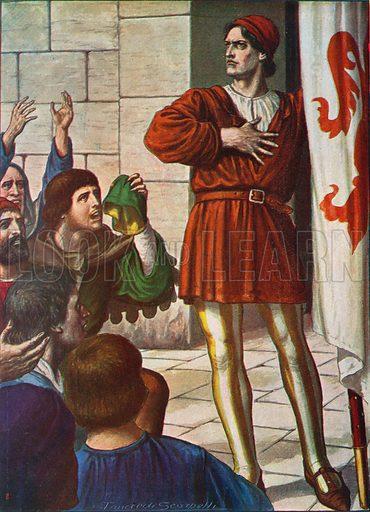 Michele di Lando in front of a jubilant crowd, 1378. Illustration for Storia d'Italia by Paolo Giudici (Nerbini, 1931).