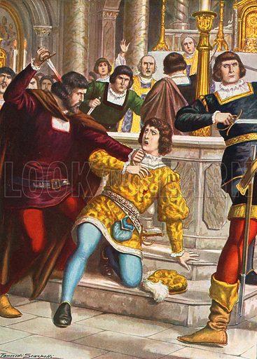Death of Giuliano de' Medici in the Duomo, Florence in 1478. The Pazzi Conspiracy. Illustration for Storia d'Italia by Paolo Giudici (Nerbini, 1931).
