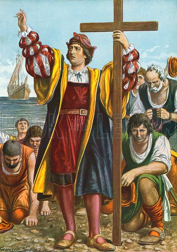 Christopher Columbus arriving in the New World. Illustration for Storia d'Italia by Paolo Giudici (Nerbini, 1931).