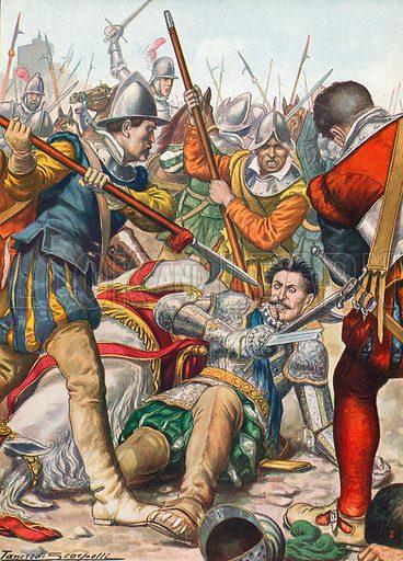 Gaston de Foix dying at the battle of Ravenna in 1512. Illustration for Storia d'Italia by Paolo Giudici (Nerbini, 1931).
