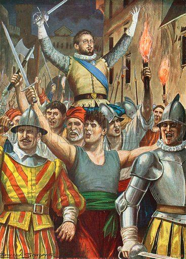 Giovanni Luigi Fieschi. Illustration for Storia d'Italia by Paolo Giudici (Nerbini, 1931).