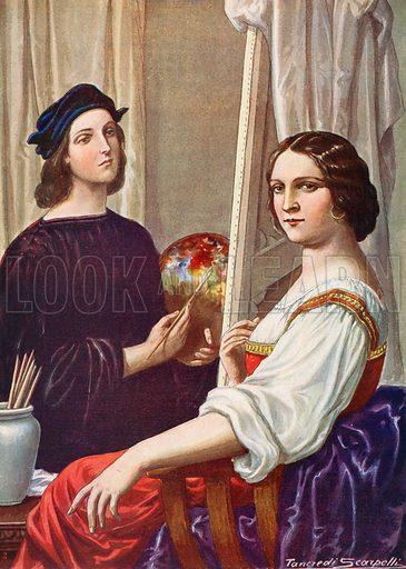 Raphael. Illustration for Storia d'Italia by Paolo Giudici (Nerbini, 1931).