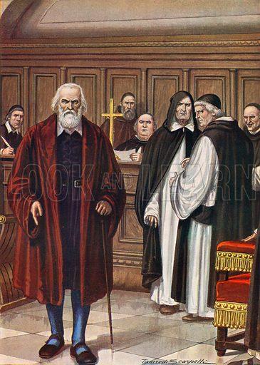The trial of Galileo, 1633. Illustration for Storia d'Italia by Paolo Giudici (Nerbini, 1931).