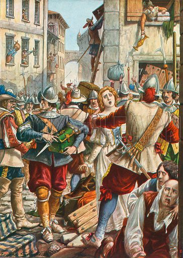 Mantua being attacked by the Austrians in 1630. Illustration for Storia d'Italia by Paolo Giudici (Nerbini, 1931).