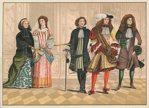 Persons of distinction, possibly German, from a picture at Goodrich Court, c 1680. Illustration for A Cyclopaedia of Costume by James Robinson Planche (Chatto and Windus, 1876).
