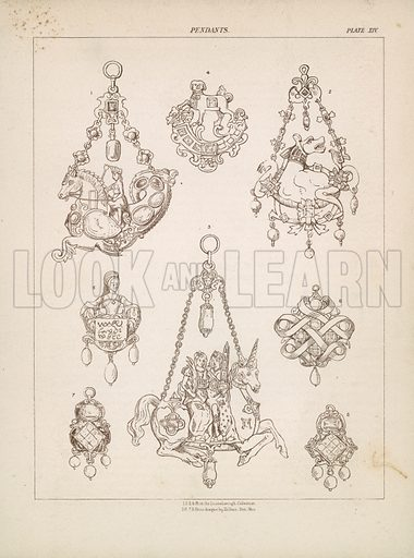 Pendants. Illustration for A Cyclopaedia of Costume by James Robinson Planche (Chatto and Windus, 1876).