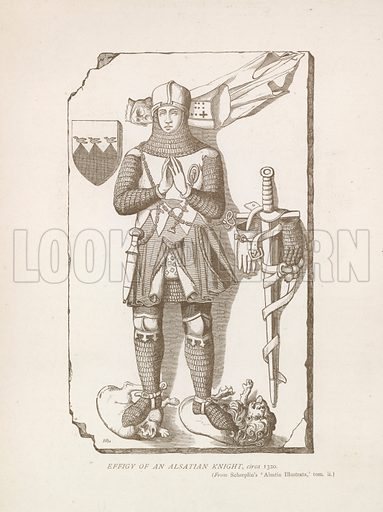Effigy of an Alsatian knight, c 1320. Illustration for A Cyclopaedia of Costume by James Robinson Planche (Chatto and Windus, 1876).