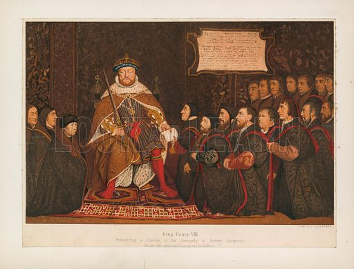 King Henry VIII presenting a charter to the Company of Barber Surgeons. Illustration for A Cyclopaedia of Costume by James Robinson Planche (Chatto and Windus, 1876).