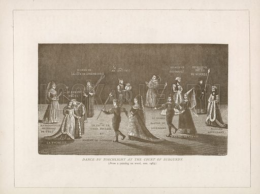 Dance by Torchlight at the court of Burgundy. Illustration for A Cyclopaedia of Costume by James Robinson Planche (Chatto and Windus, 1876).