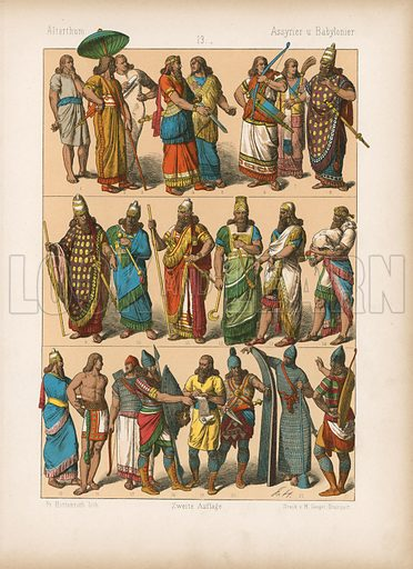 Assyria and Babylon. Illustration for Trachten by Friedrich Hottenroth (Verlag von Gustav Weise, 1884).