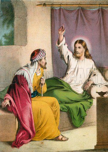 Jesus Christ and Nicodemus. Illustration for unidentified 19th century Bible.