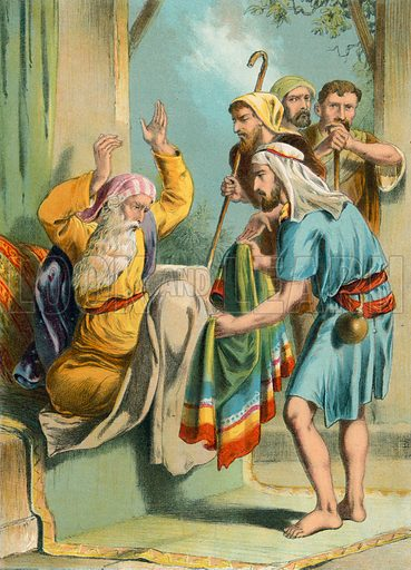 Joseph's coat of many colours. Illustration for unidentified 19th century Bible.