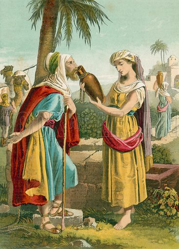 Rebecca at the well.  Illustration for unidentified 19th century Bible.